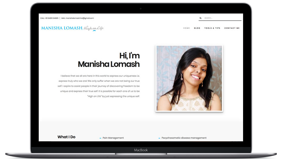 Website design, development, SEO and maintenance for an young women entrepreneur